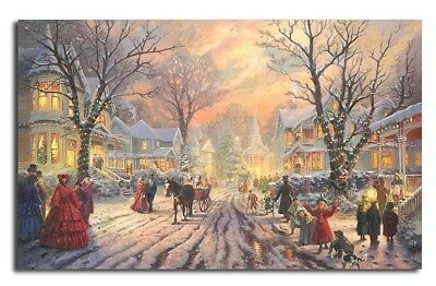 Vintage A VICTORIAN CHRISTMAS CAROL CANVAS PRINT Thomas Kinkade Wall Art Winter