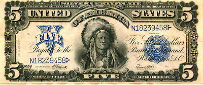 1899 $5 Indian Silver Certificate Note ~Reproduction~
