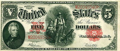"""1907 $5 """"woodchopper"""" United States Note ~Reproduction~"""