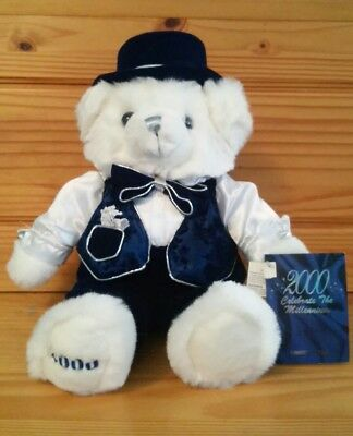 NEW 2000 WalMART CHRISTMAS TEDDY BEAR White & Blue Collectible w Cert. of Auth.