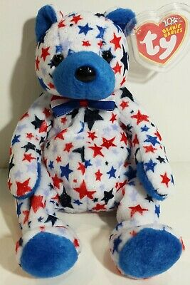 """TY Beanie Babies """"BLUE"""" the USA PATRIOTIC TEDDY BEAR - MWMTs! RETIRED! Ty Store!"""