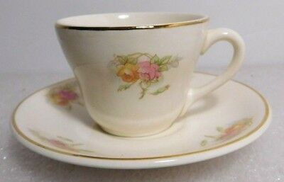 Cup and Saucer Coffee Tea Set Floral Flower Gold Trim Unmarked Demitasse