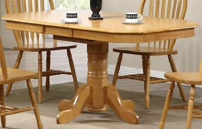 Pedestal Extension Dining Table in Light Oak Finish [ID 2269941]