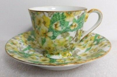 Occupied Japan MERIT Cup & Saucer Coffee Tea Demitasse Set Yellow Flower Floral
