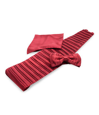 Uomo Luxury Men's Ruby Red Silk Set of Bow Tie, Handkerchief, Cummerbund and Box