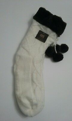 FRYE BOOTS Womens Slipper Socks Pom Pom Sherpa Lined Cable Knit Non Skid NWT#R12