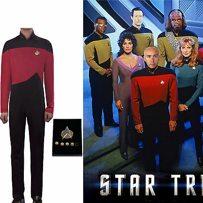 Cosplay Star Trek TNG Jumpsuit Uniform The Next Generation Red Costume Pin Set