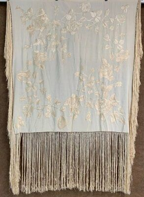 Vintage Wedding Embroidered Piano Shawl Creamy Hand Made