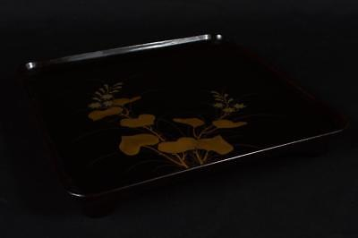 R1987: Japanese WOODEN TRAY Table Lacquer ware Flower gold lacquer pattern