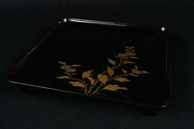 R1988: Japanese WOODEN TRAY Table Lacquer ware Flower gold lacquer pattern