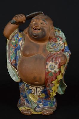 R1982: Japanese XF Old Kutani-ware Treasure pattern HOTEI STATUE sculpture