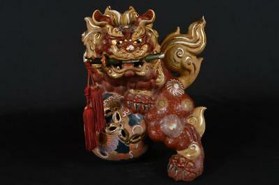 R3295: Japanese Kutani-ware Flower pattern Lion STATUE sculpture Ornament