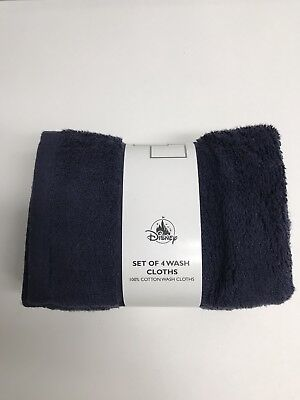 Disney Parks Mickey Mouse Icon WASH CLOTHS SET OF 4 Bath Towel - Navy Blue NEW