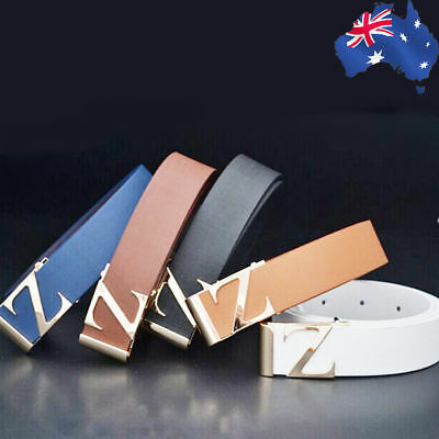 Letter Z Woman Man Men Belt PU Blue Coffee White Light Tan Black Buckle CBELT77