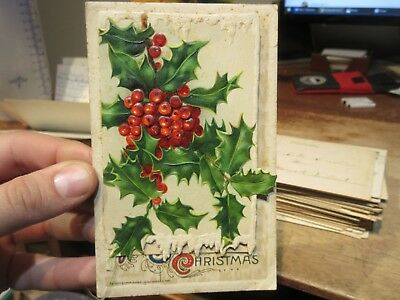 Vintage Old Antique Victorian Era Merry Christmas Postcard Holly Opens Up Mini