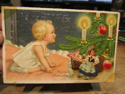Vintage Old Antique Victorian Era Merry Christmas Postcard German Language Baby