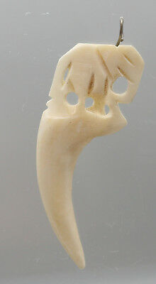 Vintage Hand Carved Buffalo Bone Tooth Pendant Made In Thailand
