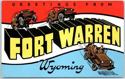 FORT WARREN Wyoming Large Letter Postcard Military WWII Army Kropp Linen 1940s