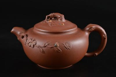 G1307: Chinese Brown pottery Flower sculpture TEAPOT Kyusu Sencha