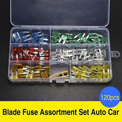 120Pcs Mini Blade Fuse Assortment Set Car Auto Truck SUV FUSES Kit APM ATM