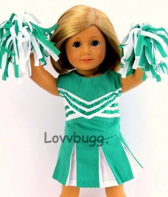 "Green CheerLeader Uniform with Pom Poms for 18"" American Girl Doll Clothes"