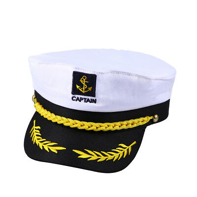c253cf1c349 White Adult Yacht Boat Ship Sailor Captain Costume Hat Cap Navy Marine  Admiral