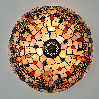 Vintage Tiffany Dragonfly Stained Glass Ceiling Light Hanging Pendant Lamp 40CM
