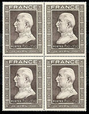 Stamp /  Timbre France Neuf N° 606 ** Bloc De 4 Timbres Petain Cote