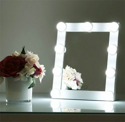 9 LED Vanity Lighted Hollywood Makeup Mirror with lights Dimmer Stage Beauty SS