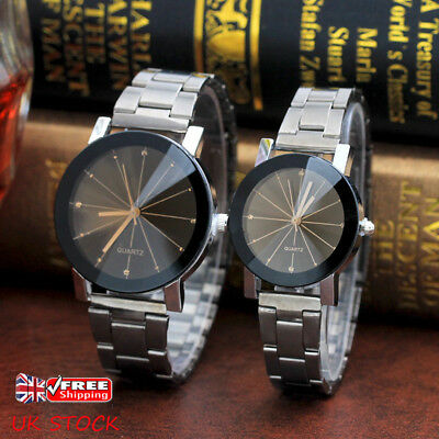 UK Couple Mens Women Stainless Steel Watch Quartz Analog 12-Hour Dial Wristwatch