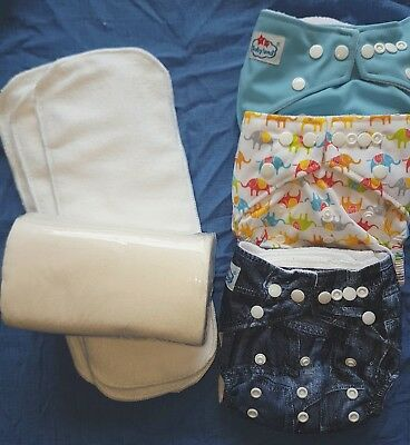 Modern Cloth Nappy Starter Pack - 3 Nappies, 100 Liners, 3 extra Inserts