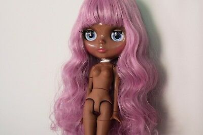"""12"""" Neo Blythe Doll with Outfit - Joint Body Dark Skin Purple Hair"""
