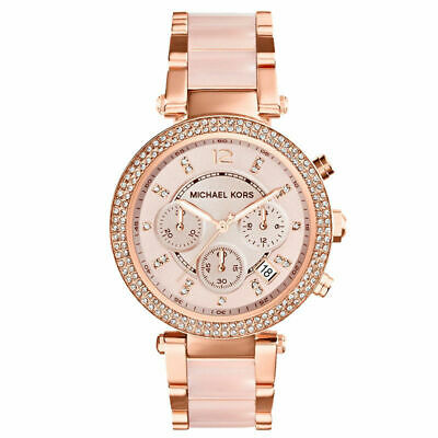 New In Box Michael Kors MK5896 Blush Dial Rose Gold Chronograph Ladies Watch