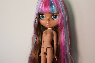 """12"""" Neo Blythe Doll with Outfit - Joint Body Brown Skin Rainbow Hair"""