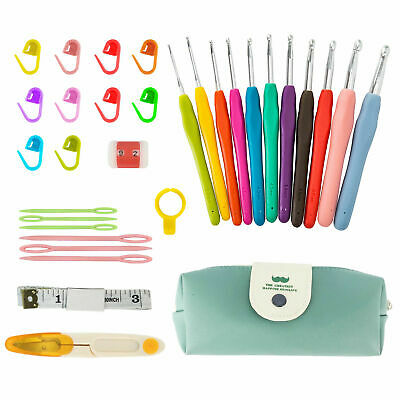 New 30pcs Crochet Hooks Kit Yarn Knitting Needles Sewing Tools Grip Set With Bag