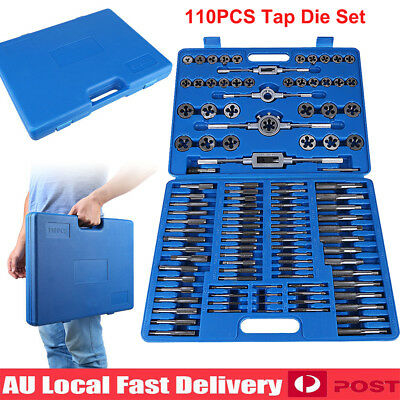 110Pcs Metric Tap And Die Set Carbon Steel Screw Threading Heavy Duty Hand Tool