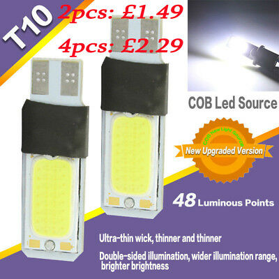 UK T10 Car Bulbs Led Error Free Canbus Smd Cob White Ice Blue W5W 501 Side Light