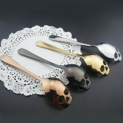 Stainless Steel Coffee Mixing Spoon Sugar Dessert Teaspoon Skull Shape Tableware