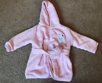 Matalan Baby Girls Pink Fluffy Dressing Gown Mouse Detail 18-24 Months