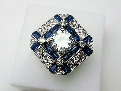 AD271 925 Silver Art Deco Vintage Blue White Sapphire 1.5 Carat Statement ring L