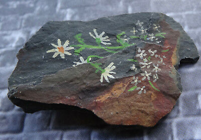 vintage hand painted Welsh slate stone daisy flower brooch -N349