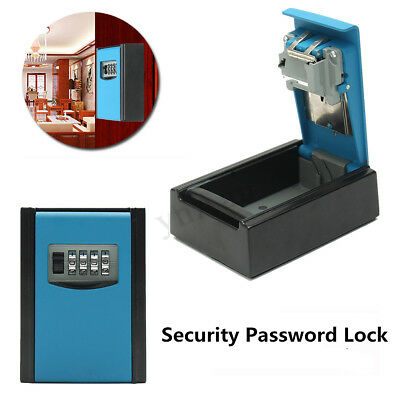 4 Digit Combination Password Key Lock Box Wall Mounted Padlock Organizer Storage