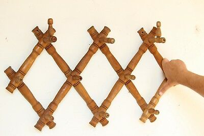Vintage Wooden Coat and Hat Rack Folding Peg Rack Antique Accordion Wall Hanger