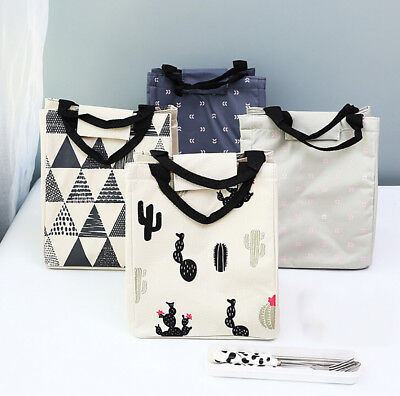 Cute Insulated Cold Canvas Picnic Carry Case Thermal Portable Office Lunch Bag D