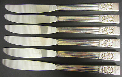 Vintage Set Of 6 Oneida Community Silver Plated Hampton Court Dinner Knives