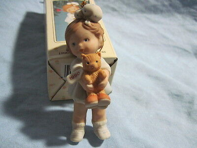 1990 ENESCO PEGGY Ornament PORCELAIN Girl with Teddy Bear MEMORIES OF YESTERDAY