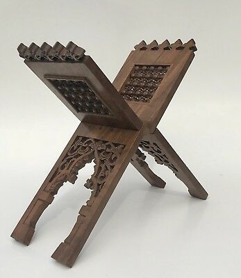 Antique Carved Olive Wood Bible Holder Stand Ornate Book Holder 19th Century