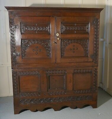 17th Century Welsh Oak Housekeepers Hanging Cupboard