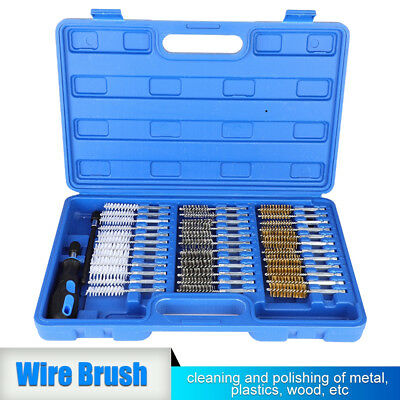 38Pc Thin Wire Brush Set Brass 150Mm Hex Head Handle Drill Bit Pipe Cleaning Kit