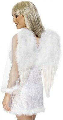 Ladies White Fluffy Feather Angel Christmas Fancy Dress Costume Outfit Wings